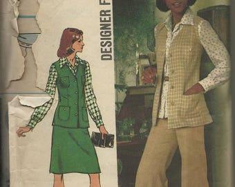 25% OFF Simplicity 5812    Misses Unlined Vest, Blouse, Skirt and Pants     Size 16   C1973