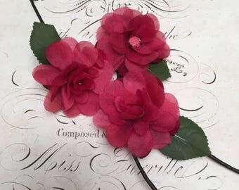 Trio of sweet vintage millinery flowers - A