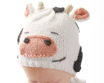 Cow Hat KNITTING PATTERN / Knit Cow Hat Pattern / Cow Hat For Baby / Cow Baby Outfit / Newborn Cow Hat / Baby Cow Hat / Cow Baby Hat
