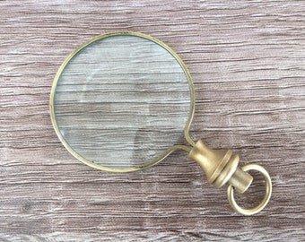 Brass Magnifying Glass - Round Magnifier - Necklace Pendant Charm - Old Vintage Antique Style - Nautical Jewelry Gift