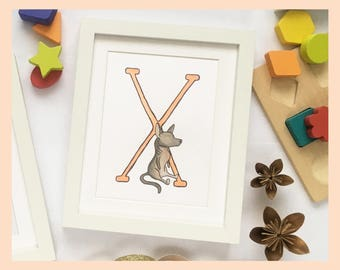 "X is for Xolo. Alphabet Nursery Art 8""x10"" mounted print. New baby gift. Name illustration"