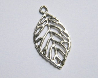 1 large charm leaf, silver plated brass, 48 x 25 mm individually