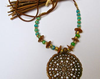 PROMOTION-20% - rustic necklace, ethnic necklace, brass, copper, Czech glass beads, coco wood slices
