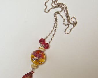"""Mid-long necklace, romantic, silver beads, glass beads chain, leaf pendant handmade enameled copper leaf"""""""