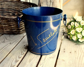 Champagne Bucket - Blue Ice Bucket - Nicolas Feuillatte- with 2 Handles - Blue and Gold - Vogalu - Made in France