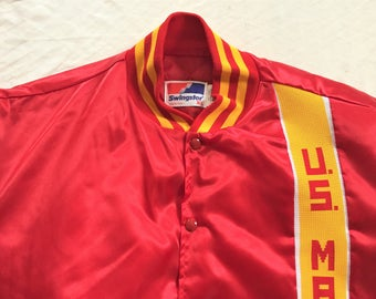 Vintage 80s Swingster US Marines Satin Windbreaker XL