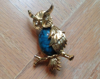 Vintage Gerrys Signed Owl Pin Brooch
