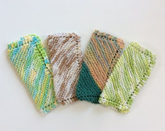 "Hand Knit Dish Cloths, Set of 4 Cotton 9"" x 9"" Knitted Wash Cloths"