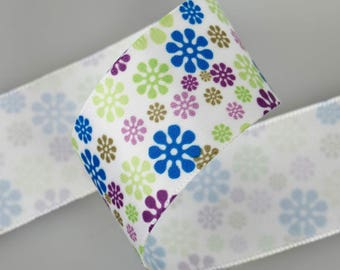 Satin flower 25mm the Brown Blue Green liberty meter Ribbon