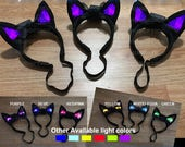 JP0 Light Up DJ Ears Cat Ears / Kitty Ears - Rave Ears - Cosplay Ears Cyber Style Dancers EDM Ears - Futuristic Ears LED Ears Costume