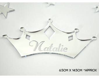 Personalised Engraved Name Plaque for Boys and Girls Doors. Princess Theme for Child's Bedroom    --- L1059