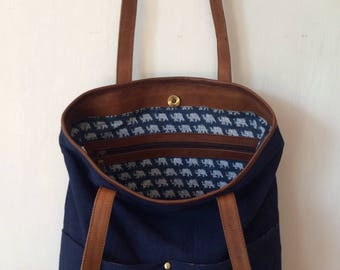 Navy canvas tote, tan leather, blockprint cotton