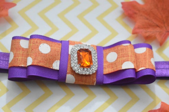 Orange and Purple  Polka Dot royal bow  - Baby / Toddler / Girls / Kids Headband / Hairband / Hair bow / Barrette / Hairclip