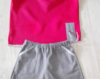 Linen for girl shorts and top set