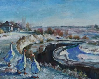 Picture Art Original Oil Painting-Winter, Landscape, Geese,River,Village