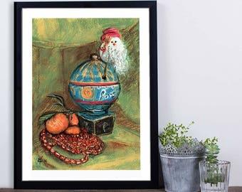 "Reproduction Art Print, ""Merry Christmas"", 12"" x 16"", Small Size art, Papa Noel, Paris, Wall Decor, Poster, Impressionist Art, Gift idea"