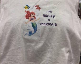Really a mermaid tshirt you choose color and size