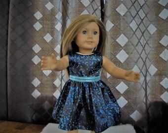 "Handmade for 18"" Dolls - Satin Polka-Dot Print Dress - will fit any 18"" dolls"