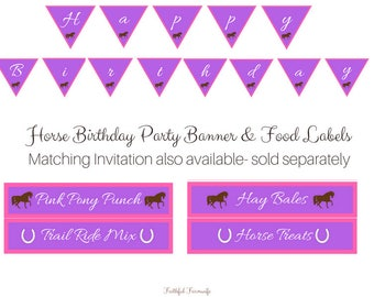 Horse Birthday Party Banner & Food Labels