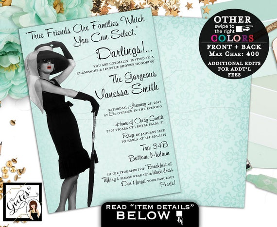 Champagne & Lingerie Shower Invitation, Breakfast at Tiffany's party Audrey Hepburn picture quote invites, double sided, 5x7. PRINTABLE