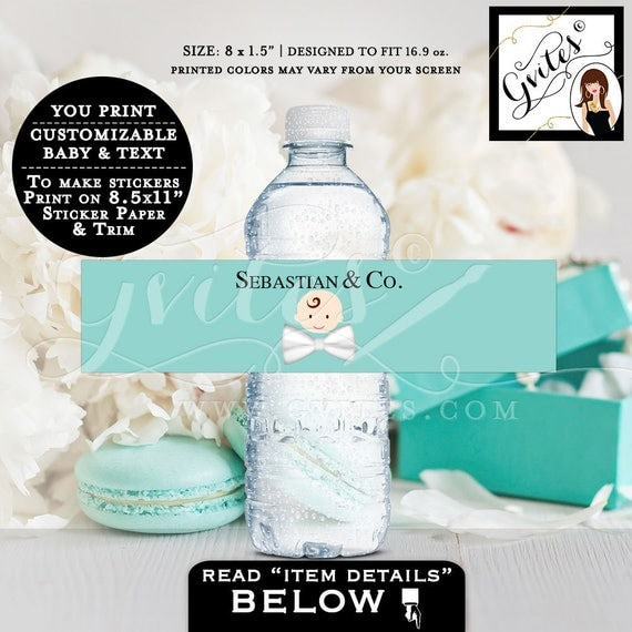 """Baby and Co water bottle labels, blue labels, breakfast at blue themed, party, african american baby {8x2"""" 5 Per Sheet} CUSTOMIZABLE TEXT"""