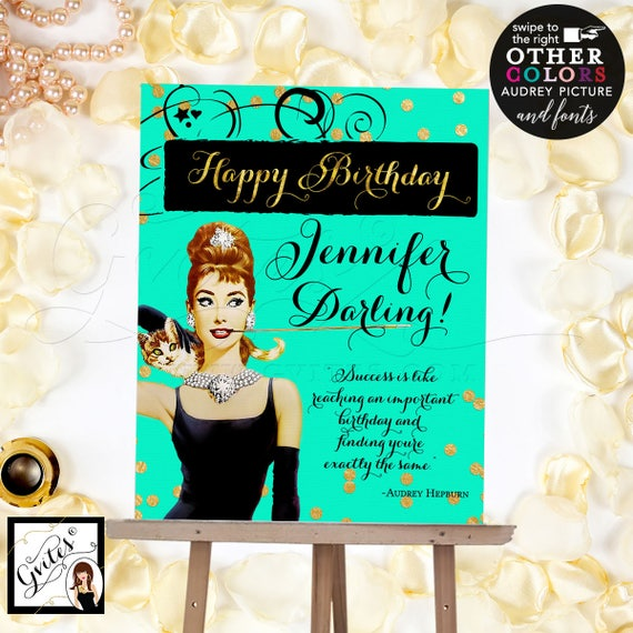 Breakfast at Tiffany's Happy Birthday Sign Poster, Audrey Hepburn sign, mint green and gold, pink and gold, Digital File Only! Read Below!!