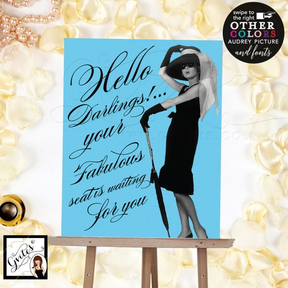 Welcome signs bridal shower, baby shower, birthdays, Custom Audrey Hepburn poster party signage for any event, 8x10 digital file, Gvites.