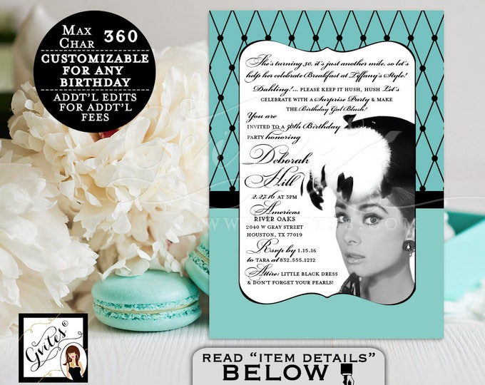 Breakfast at 50th birthday invitations, breakfast at co birthday SURPRISE blue party invitation Audrey Hepburn party invites. PRINTABLE