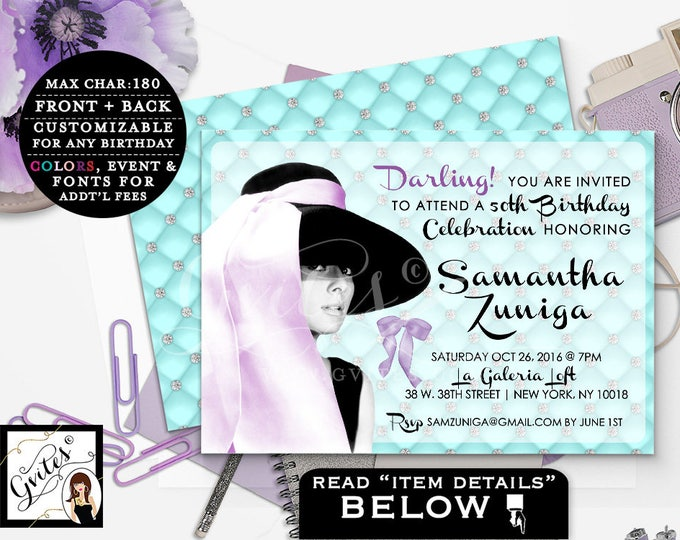 Audrey Hepburn 50th BIRTHDAY Invitation, Custom breakfast at invitations, double sided, customizable colors, purple and teal, PRINTABLE 5x7.