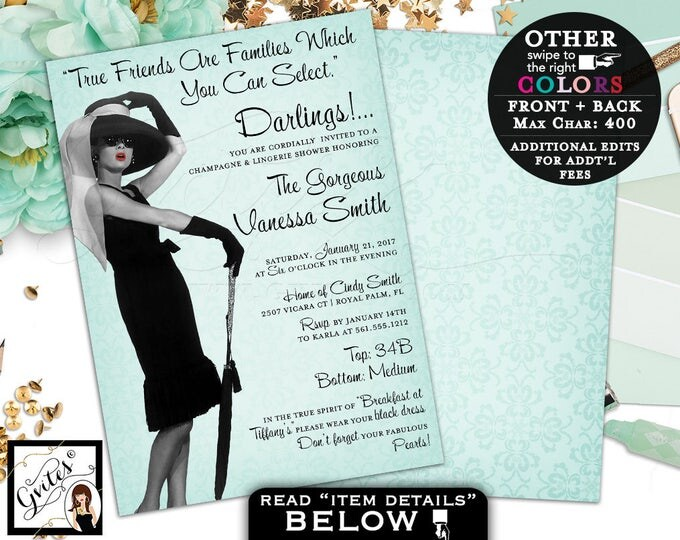 Audrey Hepburn invitations, Champagne & Lingerie Shower Invitation, Breakfast at Co Themed party quote invites, double sided, 5x7. PRINTABLE
