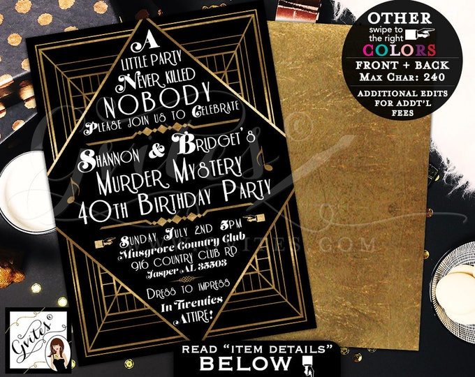 Murder Mystery 40th Birthday Party, Great Gatsby themed party invitations, 1920s black and gold, 5x7 double sided, customizable colors.
