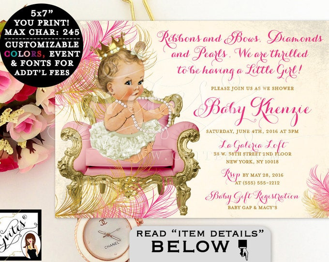Pink and gold baby shower invitation, princess baby shower, royal pink and gold, vintage baby shower, ribbons bows, diamonds and pearls.
