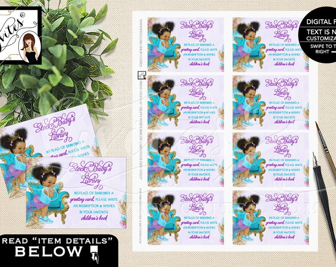 "Book for baby shower, baby insert, afro puffs african american baby card request, baby book instead of a card, 3.5x2.5"" 8/Sheet."