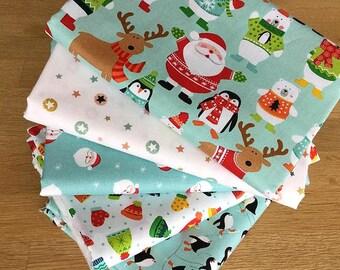 CHRISTMAS NOVELTY Fat Quarter Bundle {C} by Makower Fabrics