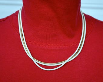 Gold and White Serpentine Chain Necklace Vintage