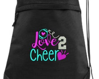 Cheer Drawstring Bag/ Embroidered Cheer Bag/ Love 2 Cheer/ Cheer Cinch Drawstring Bag/ Embroidered Bag
