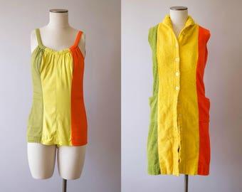 vintage 1950s swimsuit / 50s swimsuit and cover up set / medium / Citrus Punch Swim Set