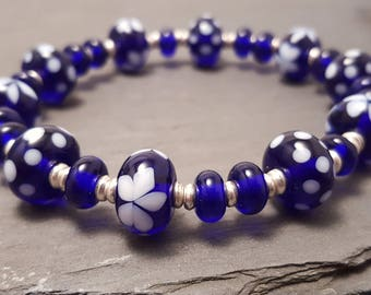 Lampwork Glass Bead Stretch Bracelet - Cobalt Blue with Flowers and Polka Dots, Handmade with Silver tone or Sterling Silver accent beads