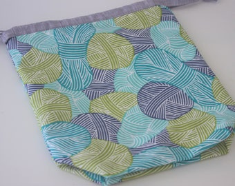 Hand Sewn Yarn Balls Small Draw String Project Bag, Great for knitting/crochet projects, fully lined