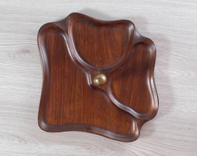 Wood Snack Tray / Vintage Solid Exotic Hardwood Food Safe Serving Appetizer Dish Platter / Handcrafted Japan / Danish Modern Nordic Decor
