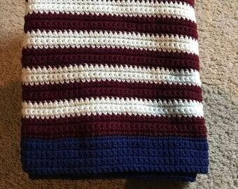 Crochet american flag colored throw blanket