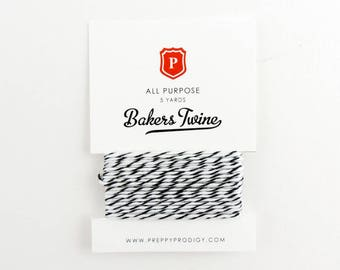 Black + White Bakers Twine, Petite, Bakers Twine. Gift Tags, Wedding, Kids String, Tag Twine, Cotton, Made in USA