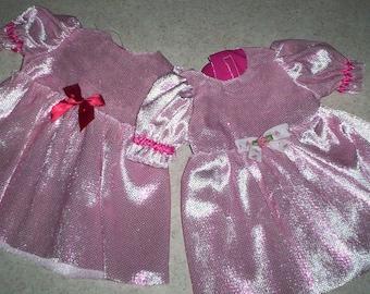 """A.G. 18"""" DOLL Dress .. Shinny Bright Pink on Light Pink Knit Dress!  ** Fits all 18"""" dolls! Preemies too!"""