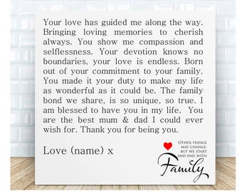 Mum Dad Thank You Poem Plaque Personalised Gift Anniversary Christmas Wedding