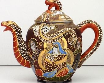 vintage tea pot, 20s Satsuma, Dragon ware tea pot, porcelain tea pot, immortals teapot, hand painted teapot, Japanese tea pot, Taisho era