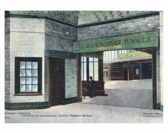 Hudson River Tunnels, Lackawanna Station, Hoboken, NJ REPRO Vintage Postcard Z29551248