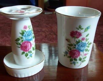 Vintage Made in Japan Toothbrush Holder and Cup