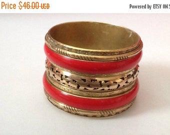 ON SALE Cuff Bracelet, Coral Cuff, Brass Cuff