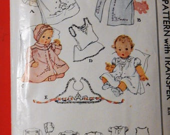 McCall 1162 Vintage infants' layette pattern - dress, wrapper, bonnet, coat, slip and bib
