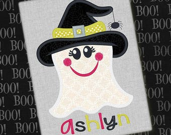 Personalized Halloween Girly Ghost with Bow or Witch Hat or Boy with Bowtie Applique Shirt or Onesie for Boy or Girl